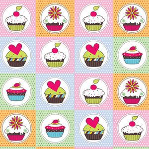 PAPEL CONTACT DECORADO CUPCAKE ROLO 45CM X 10 METROS